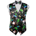 Mardi Gras Beads and Masks Vest and Tie