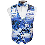 Blue Hawaiian Vest and Tie Set