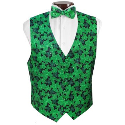 Shimmering Shamrocks Tuxedo Vest and Tie Set