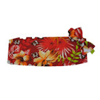 Red Hawaiian Floral Cummerbund and Bow Tie