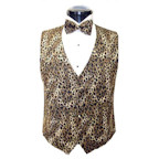 Brown Leopard Vest and Bow Tie Set