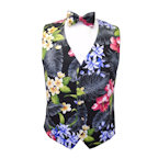 Hawaiian Tropical Floral Garden Vest and Bow Tie Set