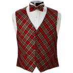 PlaidTuxedo Vest and Bow Tie Set