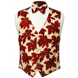Poinsettia Tuxedo Vest and Bow Tie Set