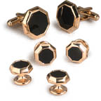 Black Onyx Octagon Cufflinks and Studs