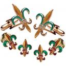 Fleur de Lis Colored Cufflink and Stud Set