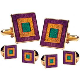 Mardi Gras Classic Cufflink and Stud Set