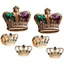 Mardi Gras Colored Crowns Cufflink and Stud Set