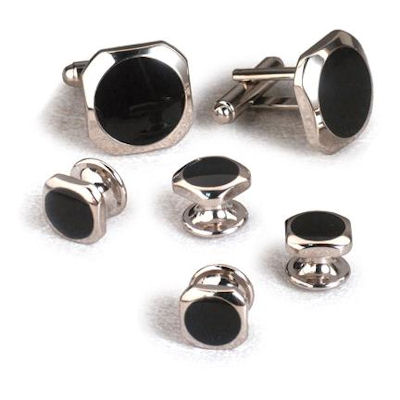 David 39 s formal wear dallas black onyx cufflinks and studs for Tuxedo shirt without studs