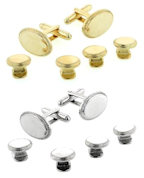 Silver or Gold Oval Beaded Edge Cufflinks and Studs