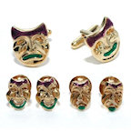 Gold Finish Comedy/Tragedy Masks Cufflinks and Studs