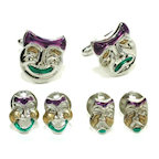 Silver FinishComedy/Tragedy Masks Cufflinks and Studs