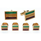 Gold Finish Mardi Gras Stripes Colored Cufflinks and Studs