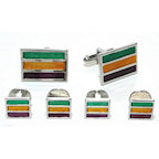 Silver Finish Mardi Gras Stripes Colored Cufflinks and Studs