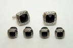Antique Egyptian Etched Beaded Black Onyx Studs and Cufflinks