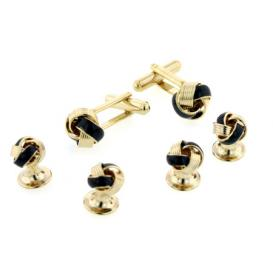 Black Enamel Knot Cuffllinks and Studs