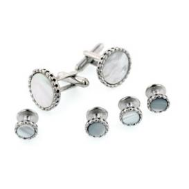 Fluted Edge Mother of Pearl Cuffllinks and Studs