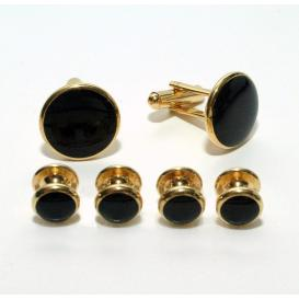 Gold and Black Budget Cuffllinks and Studs