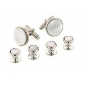 Radius Edge Mother of Pearl Cuffllinks and Studs