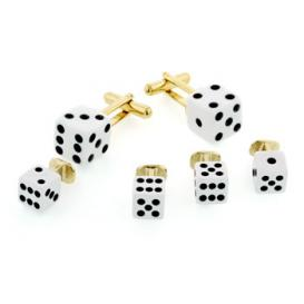 White Dice Cuffllinks and Studs