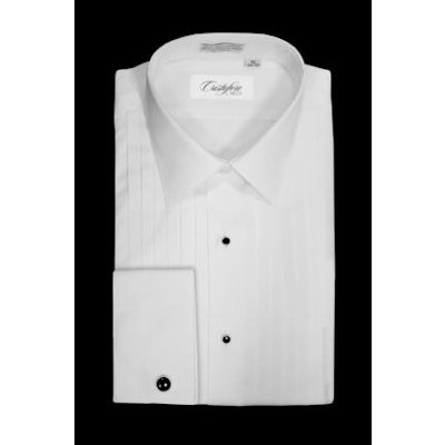 David 39 s formal wear cristoforo laydown collar pleated for Tuxedo shirt without studs