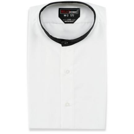 David 39 s formal wear bello uomo black and white mandarin for Tuxedo shirt without studs