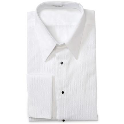 David 39 s formal wear joseph abboud lay down collar tuxedo for Tuxedo shirt without studs