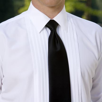 David 39 s formal wear luke lay down collar tuxedo shirt for Tuxedo shirt without studs