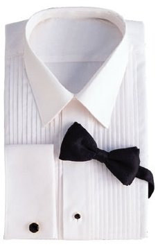 David 39 s formal wear ladies white laydowncollar 1 4 for Tuxedo shirt without studs