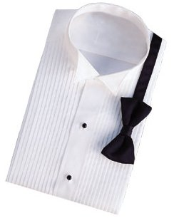 David 39 s formal wear white wing collar 1 4 pleat tuxedo for Tuxedo shirt without studs